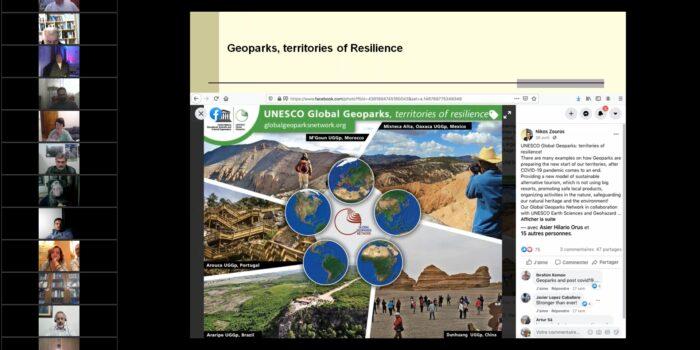 ΔΙΑΔΙΚΤΥΑΚΗ ΣΥΝΑΝΤΗΣΗ<br>ΓΕΩΠΑΡΚΩΝ ΕΛΛΑΔΑΣ – ΚΥΠΡΟΥ<br>Τα ΠΑΓΚΟΣΜΙΑ ΓΕΩΠΑΡΚΑ UNESCO<br>εργαλείο για την αντιμετώπιση των σύγχρονων προκλήσεων και την ανάδειξη της γεωλογικής και φυσικής μας κληρονομιάς<br>Παρουσίαση των νέων ελληνικών υποψηφιοτήτων Γεωπάρκων